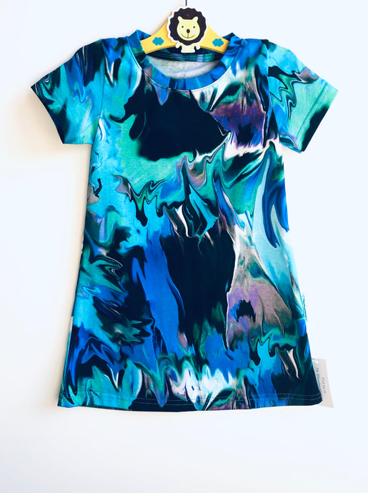 Handmade T-shirt Dress 'Abstract' size 18-24m READY TO SHIP