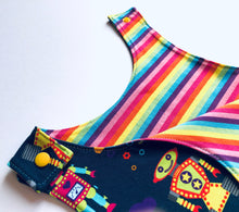 Load image into Gallery viewer, Handmade Romper 'Rainbots' GOTS, organic - made to order