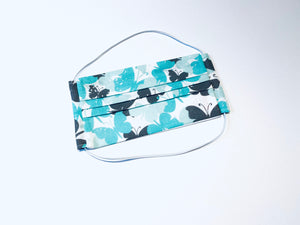 Fabric Face Mask with elastic (Barrier Mask) - Aqua Butterflies  ***NEW***