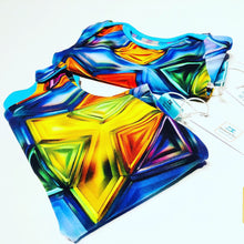 Load image into Gallery viewer, Handmade Baby Dungaree/Romper 'Kaleidoscope' - made to order