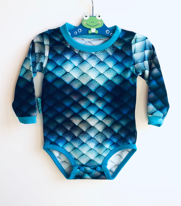 Handmade Baby Set 'Blue Dragon' - READY TO SHIP size 3-6m