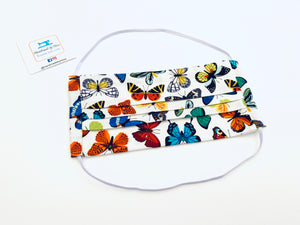 Fabric Face Mask with elastic (Barrier Mask)- Summer Butterflies ***BACK IN STOCK***