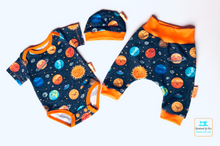 Load image into Gallery viewer, Handmade Welcome Baby Gift Set - 'Solar System' size 0-3m READY TO SHIP