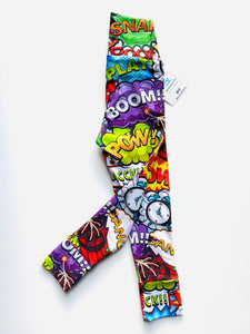 Handmade leggings/yoga pants style 'Comic'; size 2T - READY TO SHIP