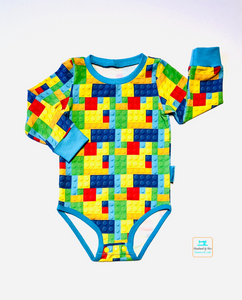 Handmade baby T-shirt/bodysuit All in 1 'Lego' - made to order