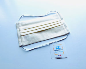 Fabric Face Mask with elastic (Barrier Mask) - Plain Neutral Cotton (Off White/Cream)