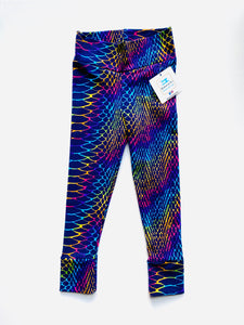 Handmade leggings/yoga pants style 'Snake scales'; size 2T - ORGANIC CUSTOM PRINT - READY TO SHIP