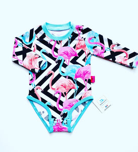 Handmade baby T-shirt/bodysuit All in 1 'Flamingo' - made to order