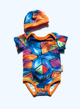 Load image into Gallery viewer, Handmade Baby Set 'Kaleidoscope' - READY TO SHIP size 3-6m