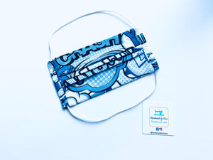 Fabric Face Mask with elastic (Barrier Mask) - WOW! (Blue)