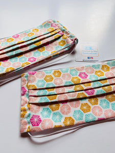 Fabric Face Mask with elastic (Barrier Mask) - Summer Hexies ***BACK IN STOCK***