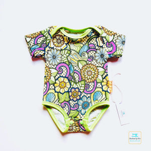 Handmade Baby Bodysuit 'Floral Ornament' - made to order