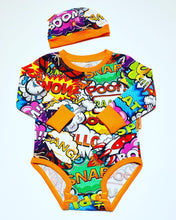 Load image into Gallery viewer, Handmade Baby Set 'Comic' ORANGE - READY TO SHIP size 3-6m