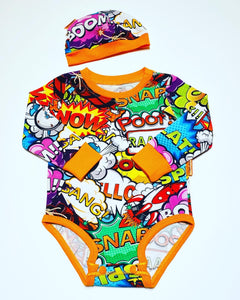 Handmade Baby Set 'Comic' ORANGE - READY TO SHIP size 3-6m