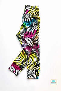 Handmade yoga pants/leggings 'Rainbow Zebras' - made to order