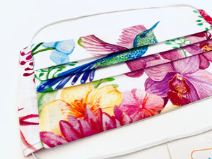 Fabric Face Mask with elastic (Barrier Mask) - Hummingbirds & Orchids ***BACK IN STOCK***