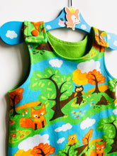 Load image into Gallery viewer, Handmade Dungaree/Romper 'Fox & Owl' ORGANIC - READY TO SHIP size 3-6m