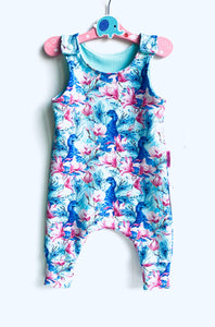 Handmade Dungaree/Romper 'Peacocks' - READY TO SHIP size 3-6m