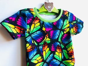 Handmade baby T-shirt/bodysuit All in 1 'Rainbow Butterflies' - made to order