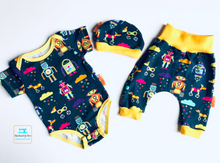 Load image into Gallery viewer, Handmade Welcome Baby Gift Set - ORGANIC/GOTS CERTIFIED  'Rainbots' size 0-3m READY TO SHIP