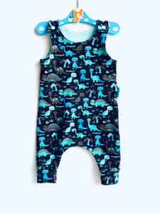 Handmade Dungaree/Romper 'Dino Roooarrr' - READY TO SHIP size 3-6m