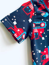 Load image into Gallery viewer, Handmade Baby Set 'Big Red Diggers'; READY TO SHIP size 3-6m