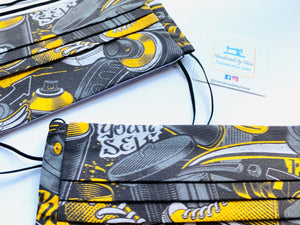 Fabric Face Mask with elastic (Barrier Mask) - Street Art (Grey/Yellow)