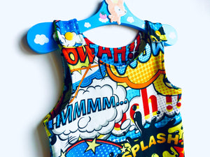 Handmade Dungaree/Romper 'WOW!' - READY TO SHIP size 3-6m