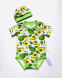 Handmade Baby Set 'Avocado' - READY TO SHIP size 3-6m