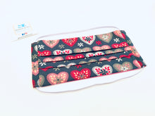Load image into Gallery viewer, Fabric Face Mask with elastic (Barrier Mask) - Folk Hearts