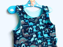Load image into Gallery viewer, Handmade Dungaree/Romper 'Dino Roooarrr' - READY TO SHIP size 3-6m