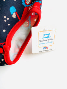Handmade Baby Set 'Big Red Diggers'; READY TO SHIP size 3-6m
