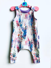 Load image into Gallery viewer, Handmade Dungaree/Romper 'Pastel feathers' - READY TO SHIP size 3-6m