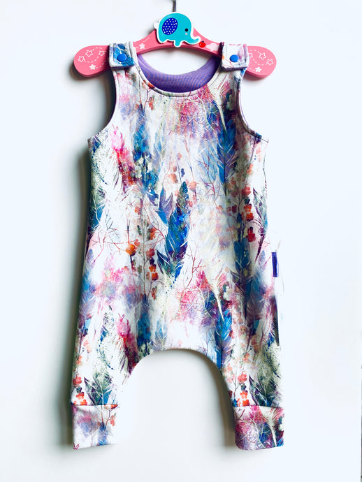 Handmade Dungaree/Romper 'Pastel feathers' - READY TO SHIP size 3-6m
