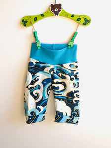 Handmade T-shirt Dress + shorts 'Ocean waves' size 2T- READY TO SHIP
