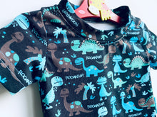 Load image into Gallery viewer, Handmade Baby Set 'Dino Roooarrr'; READY TO SHIP size 3-6m