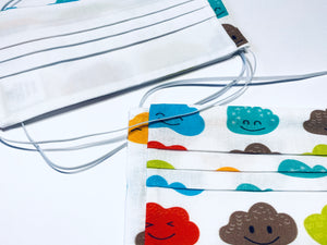 Fabric Face Mask with elastic (Barrier Mask) - Happy Clouds  ***NEW***