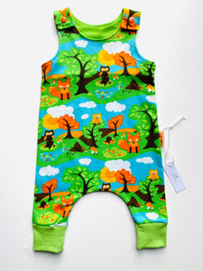 Handmade Dungaree/Romper 'Fox & Owl' ORGANIC - READY TO SHIP size 3-6m