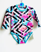 Load image into Gallery viewer, Handmade baby T-shirt/bodysuit All in 1 'Flamingo' - made to order