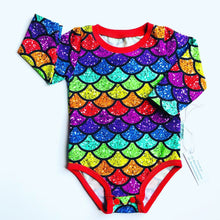 Load image into Gallery viewer, Handmade baby T-shirt/bodysuit All in 1 'Glittery Rainbow Mermaid' - made to order