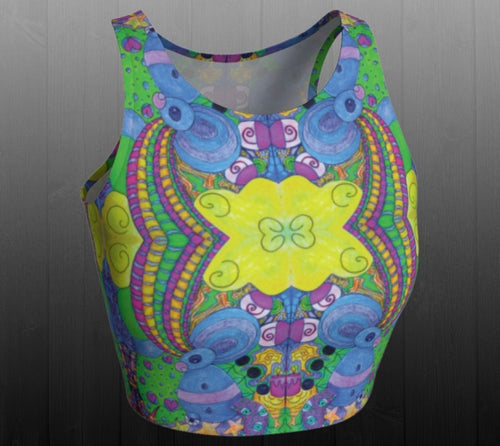 Psychedelic Playground Crop Top - Astral Wizard Art