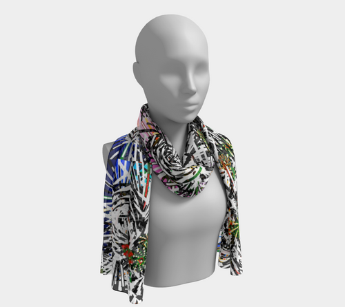 Kaleidoscopic Black Ahimsa Scarf - Astral Wizard Art
