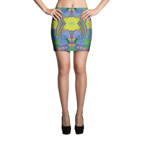 Psychedelic Playground Mini Skirt - Astral Wizard Art