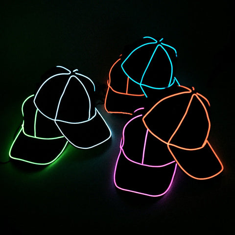 Baseball EL Wire Hat, Glowing Hats,- Rave Accessories