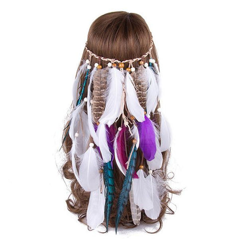 Boho Chic Headband, Feather Headband,- Rave Accessories