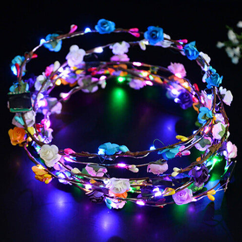 Flashing LED Flower Crown, LED Flower Crown,- Rave Accessories