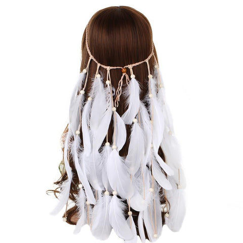 All White Headband, Feather Headband,- Rave Accessories