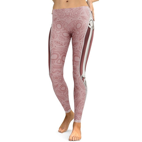 Pink Skull Leggings, Leggings,- Rave Accessories