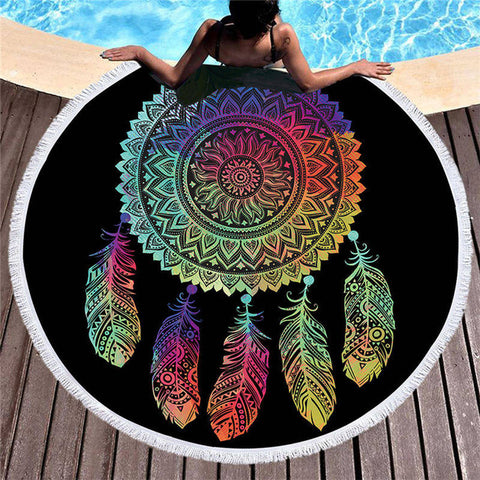 Round Beach Towel whole Mandala Dreamcatcher