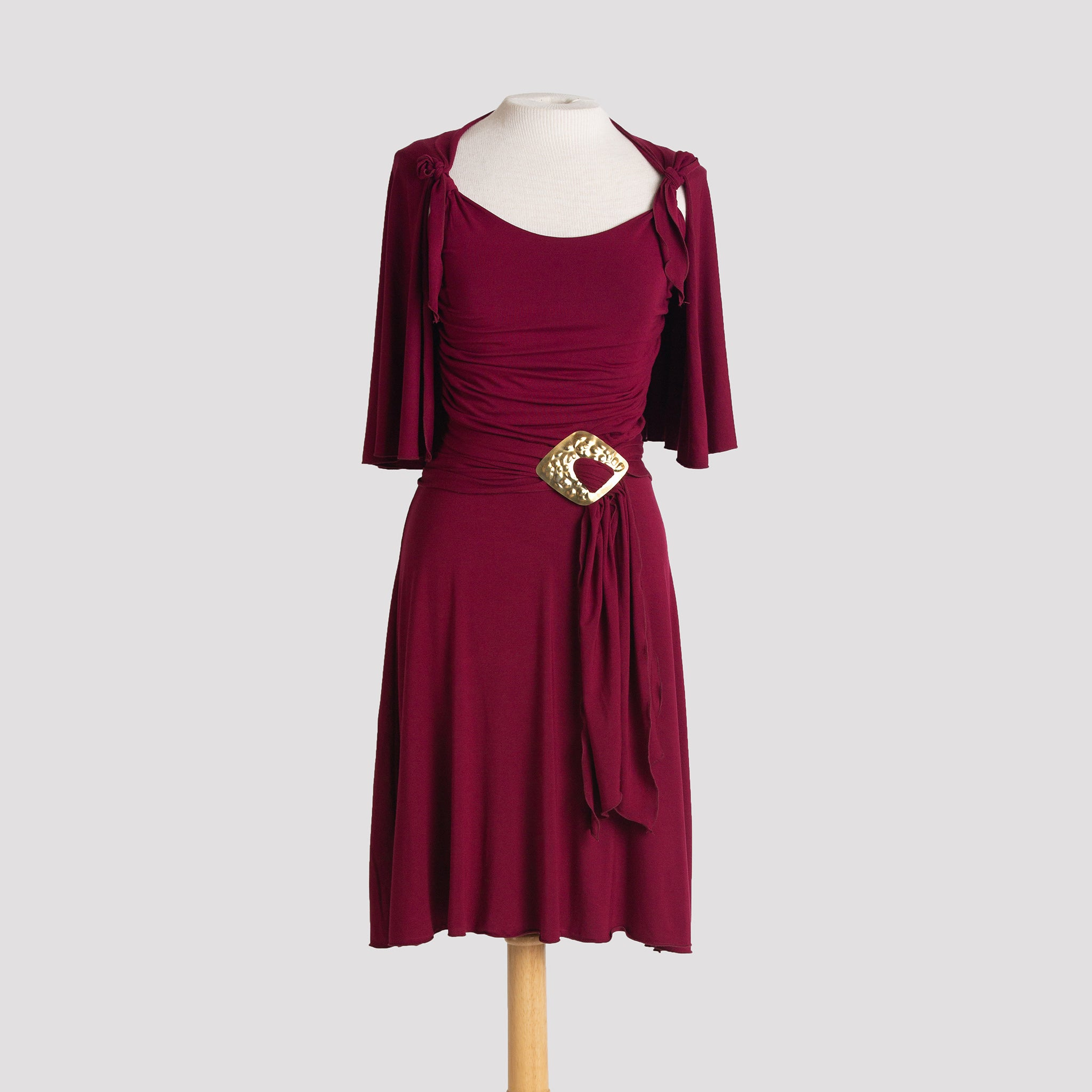Audrey Dress in Burgundy with cape, sash & diamond buckle
